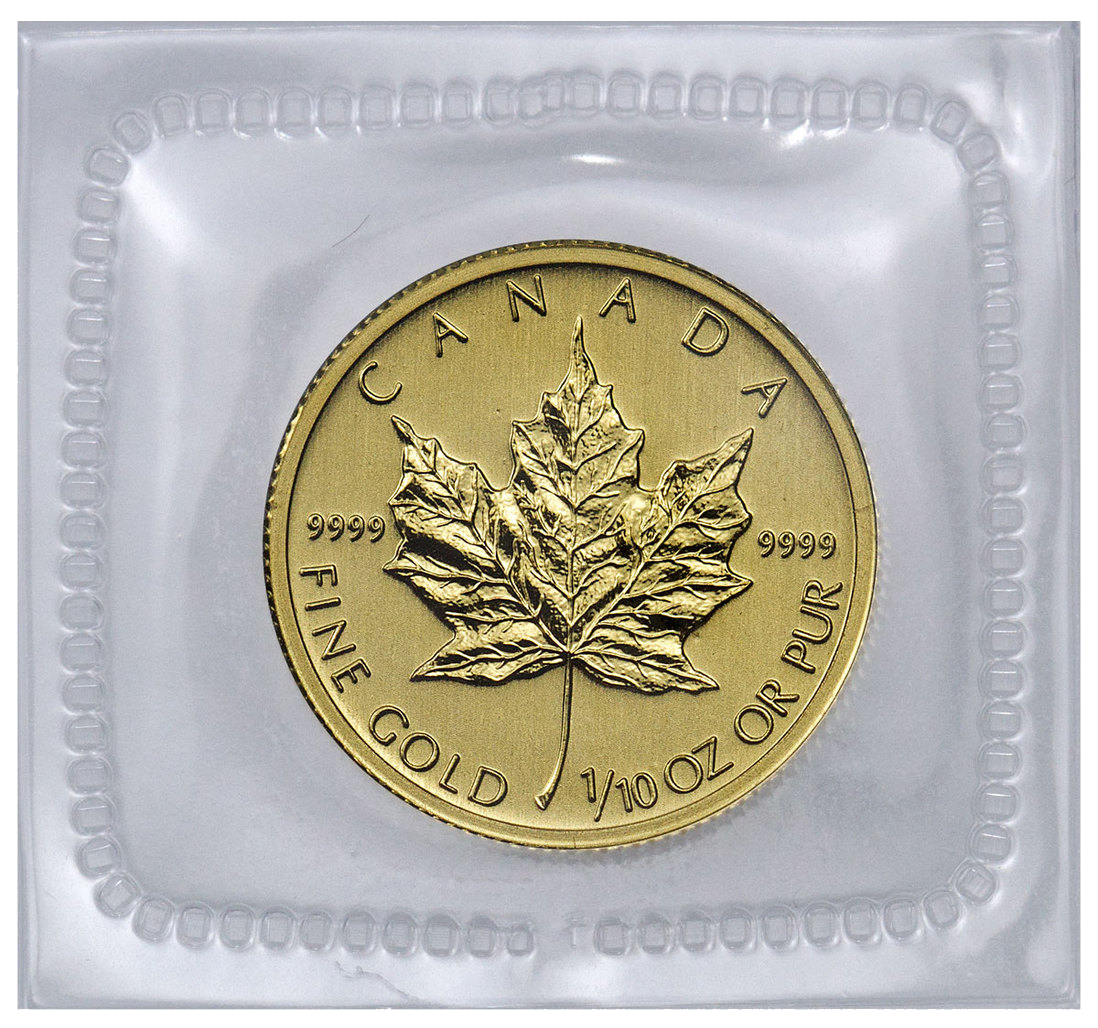 1//10 oz Canadian Gold Maple Leaf $5 Coin Random Year